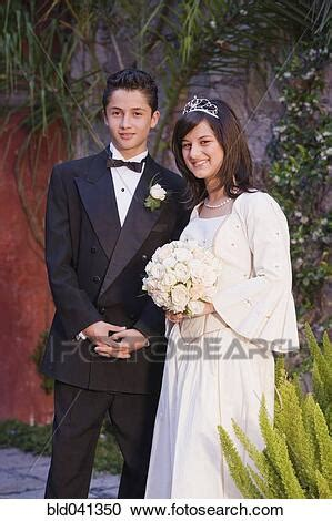 Stock Photography of Hispanic girl in Quinceanera dress