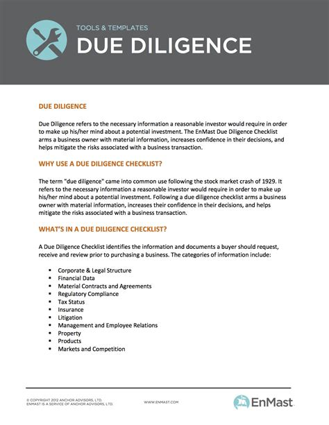 Due Diligence Checklist: A business owner's Tool for