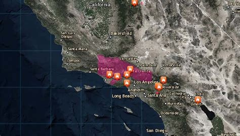 List and Map: Where Southern California Wildfires Are