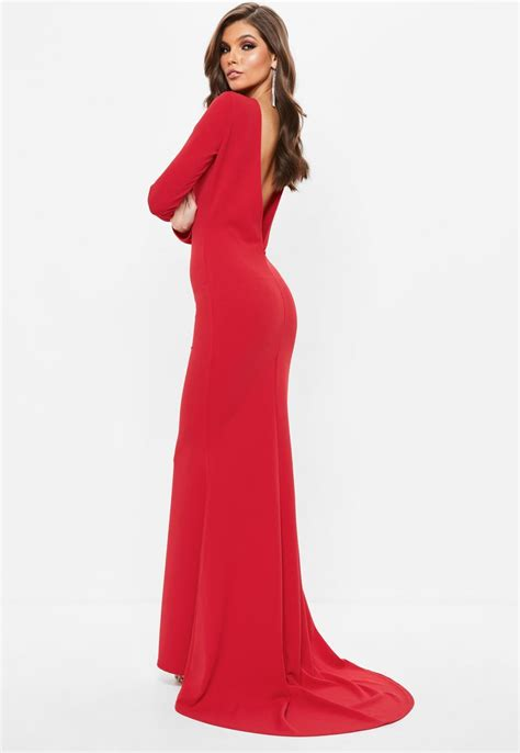 Missguided - Red Long Sleeve Open Back Fishtail Maxi Dress