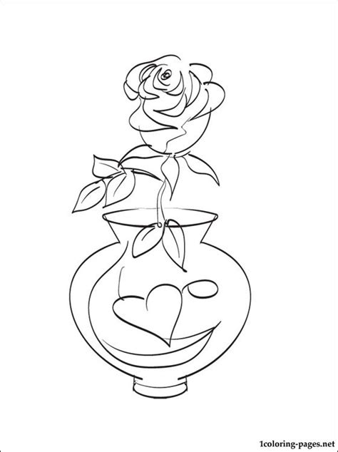 Vase with roses colouring page   Coloring pages