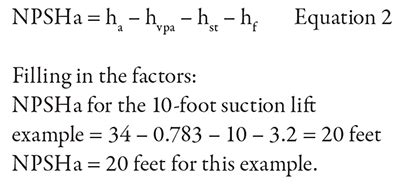 Calculate NPSHa for a Suction Lift Condition | Pumps & Systems