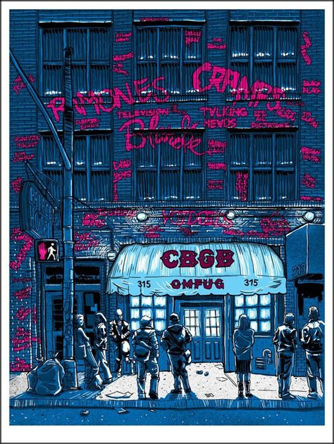 CBGBs club poster with graffiti list of famous bands that