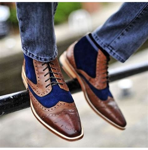Handmade Men Two Tone Boot, Men Blue And Brown Ankle Boot