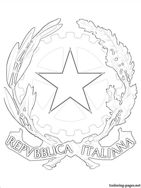 Italy's coat of arms coloring page   Coloring pages