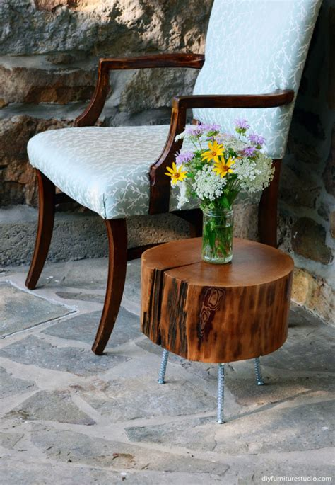 Tree Stump Side Table with Mix and Match DIY Leg Options