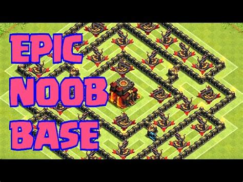 Clash of clans Epic NOOB BASE (Funny and fail Raids) - YouTube
