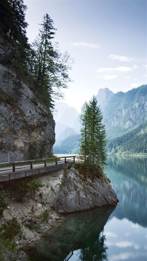 Morning light at Lake Gosau with Dachstein Mountains