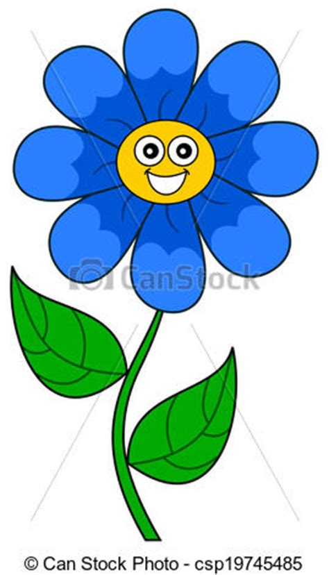 A smiling blue flower vector - Search Clip Art